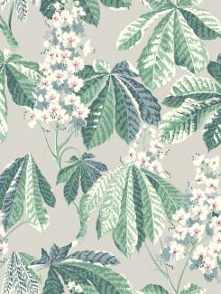 The wallpaper Chestnut Blossom from Boråstapeter. The wallpaper design and pattern is grey and consists of Floral