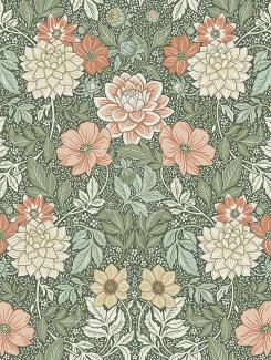 The wallpaper Dahlia Garden from Boråstapeter. The wallpaper design and pattern is multi and consists of Floral Foliage