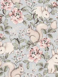 The wallpaper Magic Forest from Boråstapeter. The wallpaper design and pattern is grey and consists of Animals Children's Floral Playful & Imaginative