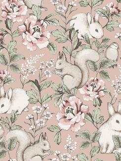 The wallpaper Magic Forest from Boråstapeter. The wallpaper design and pattern is pink and consists of Animals Children's Floral Playful & Imaginative