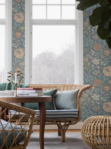 The wallpaper Alicia from Boråstapeter. The wallpaper design and pattern is blue and consists of Archive Floral Foliage