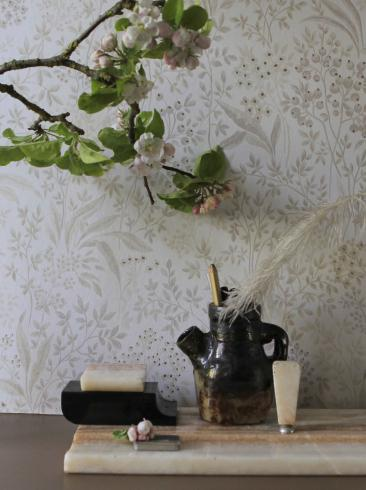 The wallpaper Nocturne from Boråstapeter. The wallpaper design and pattern is neutrals and consists of Archive Floral Foliage
