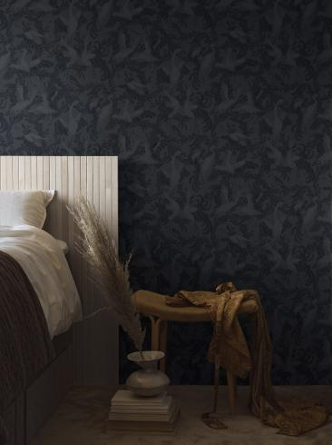 The wallpaper Dancing Crane from Boråstapeter. The wallpaper design and pattern is blue and consists of Birds