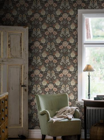 The wallpaper Dahlia Garden from Boråstapeter. The wallpaper design and pattern is brown and consists of Floral Foliage