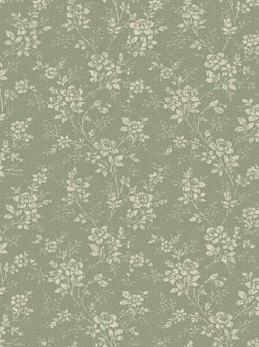 The wallpaper Hip Rose from Boråstapeter. The wallpaper design and pattern is green and consists of Archive Floral Traditional