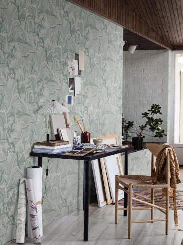 The wallpaper Indigo Garden from Boråstapeter. The wallpaper design and pattern is turquoise and consists of Forest Playful & Imaginative Tree