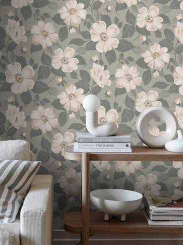 The wallpaper Alfred from Boråstapeter. The wallpaper design and pattern is green and consists of Floral Foliage