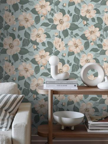 The wallpaper Alfred from Boråstapeter. The wallpaper design and pattern is turquoise and consists of Floral Foliage