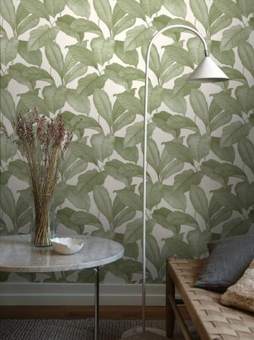 The wallpaper Bo from Boråstapeter. The wallpaper design and pattern is green and consists of Foliage