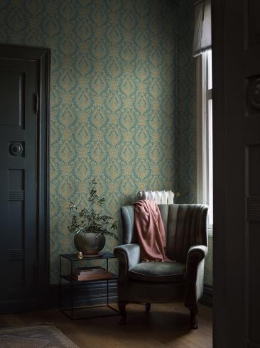 The wallpaper Boudoir Medallion from Boråstapeter. The wallpaper design and pattern is turquoise and consists of Metallic