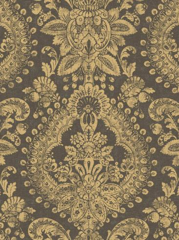 The wallpaper Boudoir Medallion from Boråstapeter. The wallpaper design and pattern is black and consists of Metallic