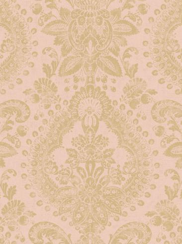 The wallpaper Boudoir Medallion from Boråstapeter. The wallpaper design and pattern is pink and consists of Metallic