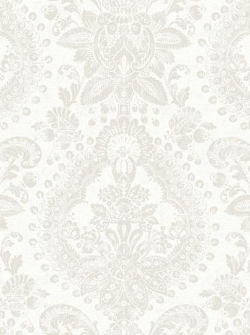 The wallpaper Boudoir Medallion from Boråstapeter. The wallpaper design and pattern is white and consists of Metallic