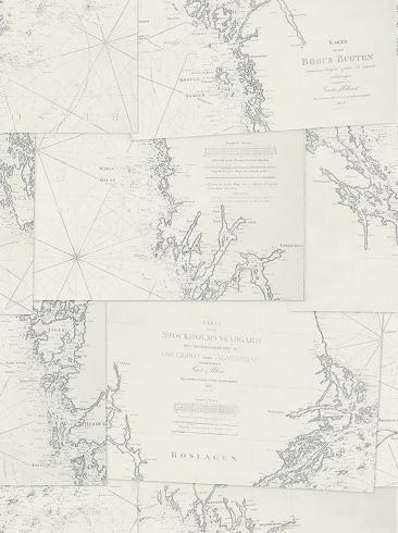 The wallpaper Coastline from Boråstapeter. The wallpaper design and pattern is neutrals and consists of Maps