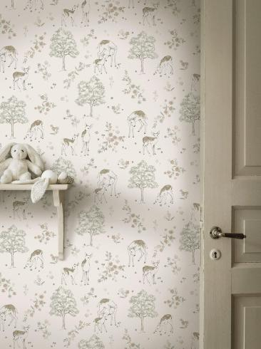 The wallpaper Deer Love from Boråstapeter. The wallpaper design and pattern is white and consists of Animals Children's Playful & Imaginative