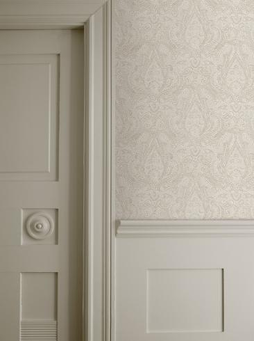 The wallpaper Divine Paisley from Boråstapeter. The wallpaper design and pattern is neutrals and consists of Metallic
