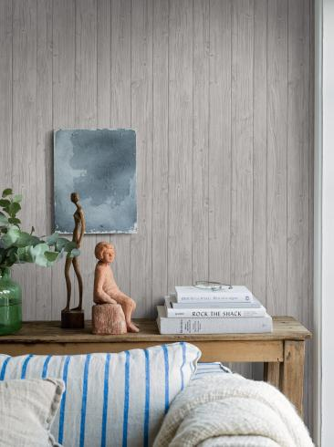 The wallpaper Driftwood from Boråstapeter. The wallpaper design and pattern is grey and consists of Archive