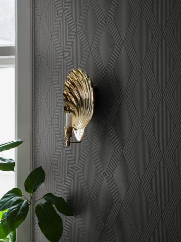 The wallpaper Garbo from Boråstapeter. The wallpaper design and pattern is blue and consists of Archive Graphic Trellis