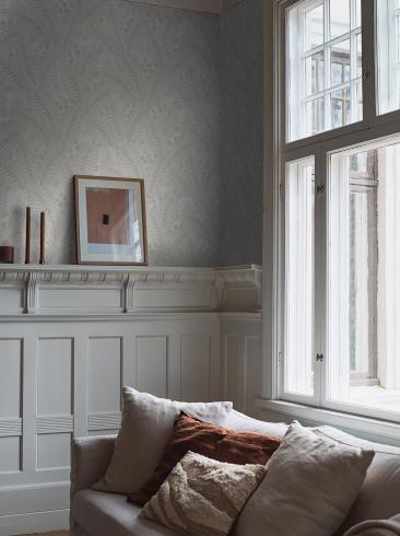 The wallpaper Hidden Ivy from Boråstapeter. The wallpaper design and pattern is grey and consists of Floral Foliage