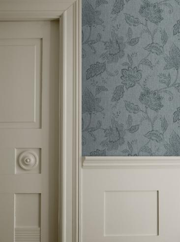 The wallpaper Indigo Bloom from Boråstapeter. The wallpaper design and pattern is turquoise and consists of Floral Textile