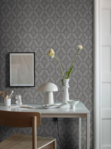 The wallpaper Klara from Boråstapeter. The wallpaper design and pattern is grey and consists of Geometric
