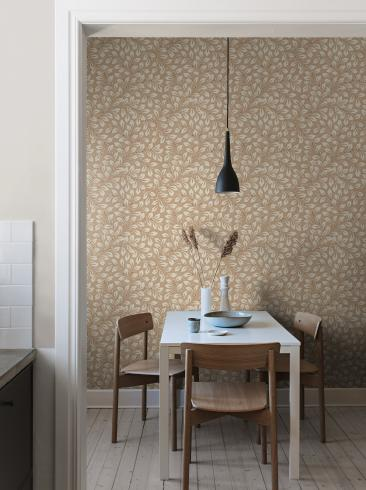 The wallpaper Liv from Boråstapeter. The wallpaper design and pattern is red and consists of Foliage