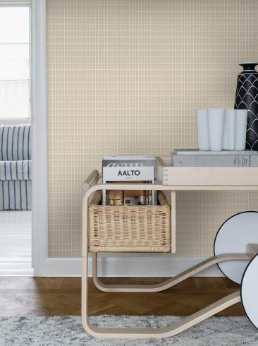 The wallpaper Alvar Aalto M.I.T from Boråstapeter. The wallpaper design and pattern is neutrals and consists of Checked Geometric