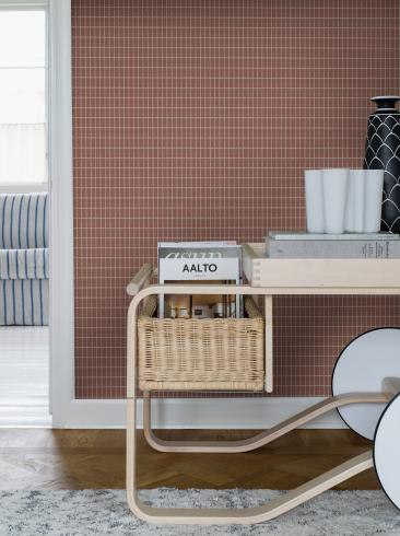 The wallpaper Alvar Aalto M.I.T from Boråstapeter. The wallpaper design and pattern is red and consists of Checked Geometric