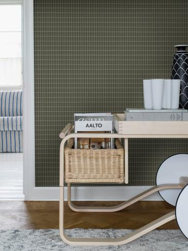 The wallpaper Alvar Aalto M.I.T from Boråstapeter. The wallpaper design and pattern is green and consists of Checked Geometric