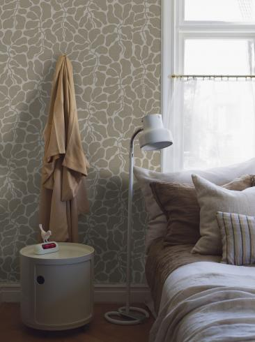 The wallpaper My Secret Garden from Boråstapeter. The wallpaper design and pattern is neutrals and consists of Foliage