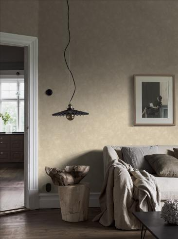 The wallpaper Painter´s Wall from Boråstapeter. The wallpaper design and pattern is yellow and consists of Limestone Single Colour