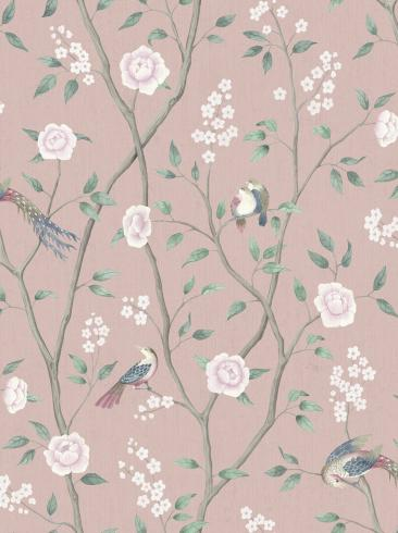 The wallpaper Paradise Birds from Boråstapeter. The wallpaper design and pattern is pink and consists of Floral