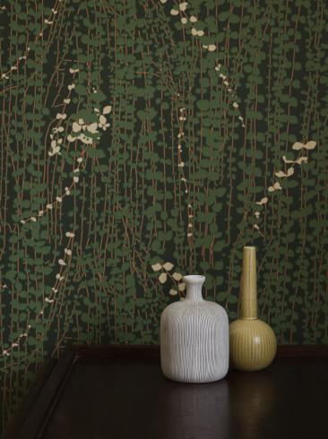 The wallpaper Arne Jacobsen Ranke from Boråstapeter. The wallpaper design and pattern is green and consists of Foliage Plants