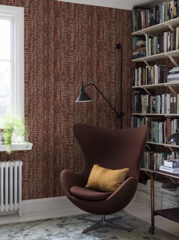 The wallpaper Arne Jacobsen Ranke from Boråstapeter. The wallpaper design and pattern is red and consists of Foliage Plants