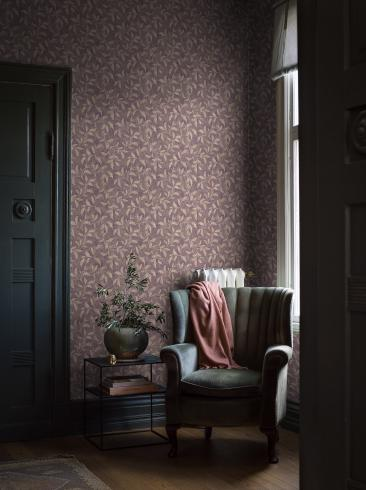 The wallpaper Rosewood Night from Boråstapeter. The wallpaper design and pattern is purple and consists of Floral Plants