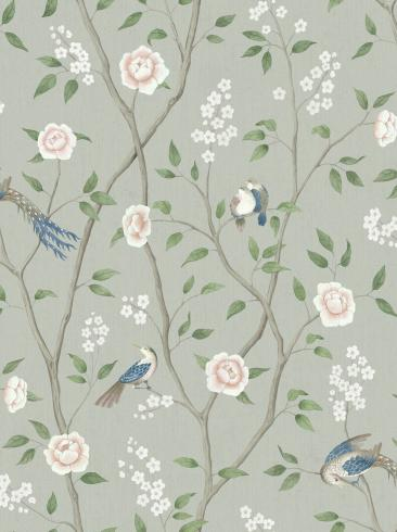 The wallpaper Paradise Birds from Boråstapeter. The wallpaper design and pattern is turquoise and consists of Floral