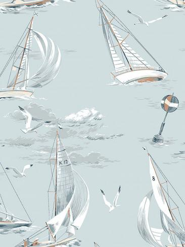 The wallpaper Sailboats from Boråstapeter. The wallpaper design and pattern is blue and consists of Archive
