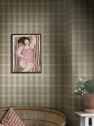 The wallpaper Tailor´s Tweed from Boråstapeter. The wallpaper design and pattern is green and consists of Checked