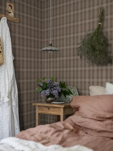 The wallpaper Tailor´s Tweed from Boråstapeter. The wallpaper design and pattern is brown and consists of Checked