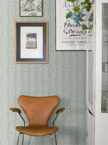 The wallpaper Arne Jacobsen Tassel from Boråstapeter. The wallpaper design and pattern is green and consists of Graphic
