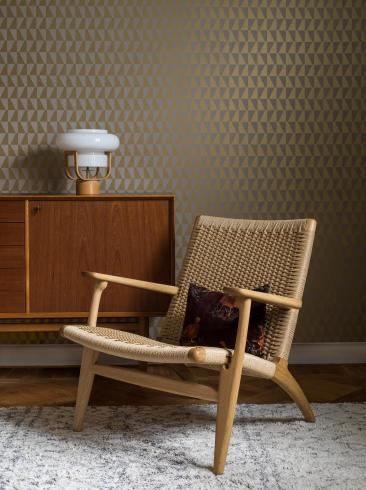The wallpaper Arne Jacobsen Trapez from Boråstapeter. The wallpaper design and pattern is neutrals and consists of Geometric