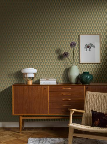 The wallpaper Arne Jacobsen Trapez from Boråstapeter. The wallpaper design and pattern is green and consists of Geometric