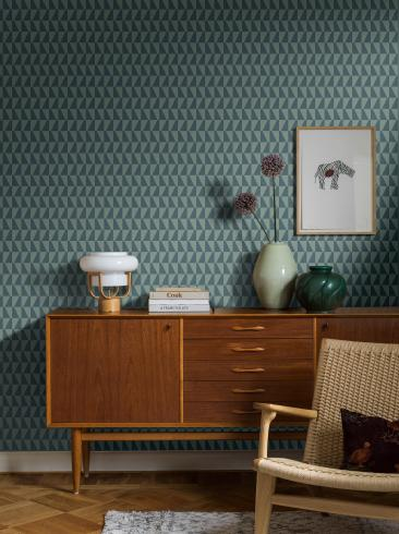 The wallpaper Arne Jacobsen Trapez from Boråstapeter. The wallpaper design and pattern is blue and consists of Geometric