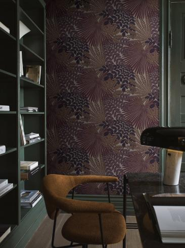 The wallpaper Velvet Leaves from Boråstapeter. The wallpaper design and pattern is purple and consists of Foliage