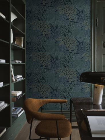 The wallpaper Velvet Leaves from Boråstapeter. The wallpaper design and pattern is blue and consists of Foliage