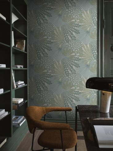 The wallpaper Velvet Leaves from Boråstapeter. The wallpaper design and pattern is green and consists of Foliage