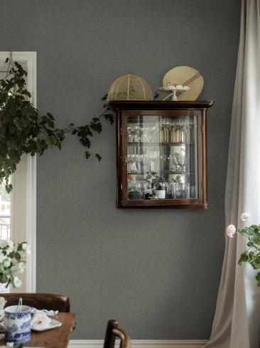 The wallpaper Weaver´s Wall from Boråstapeter. The wallpaper design and pattern is green and consists of Single Colour
