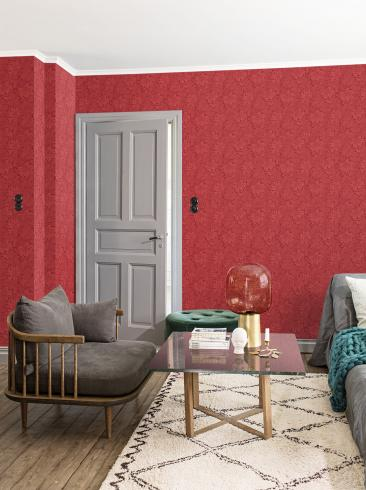 The wallpaper Acanthus from Engblad & Co. The wallpaper design and pattern is red and consists of Archive Floral Foliage Traditional