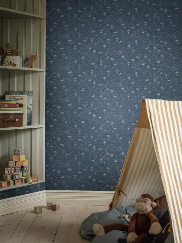 The wallpaper Adventures from Boråstapeter. The wallpaper design and pattern is blue and consists of Children's Maps Playful & Imaginative