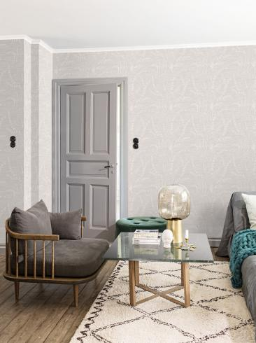 The wallpaper Alger from Engblad & Co. The wallpaper design and pattern is grey and consists of Graphic Plants